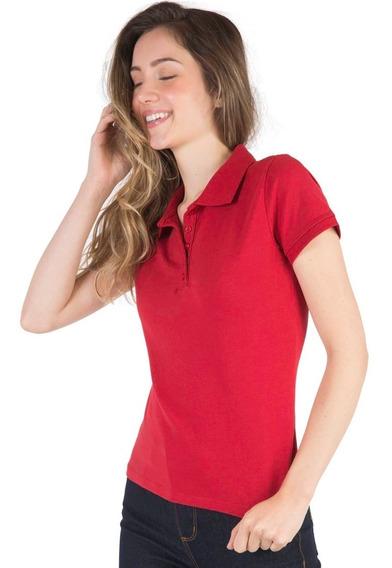 6 Camisas Polo Feminina Piquet 100% Poliéster (varias Cores)