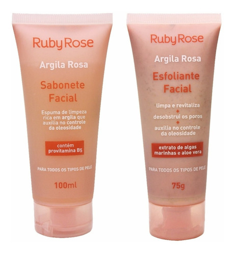 Kit Sabonete E Esfoliante Argila Rosa Ruby Rose
