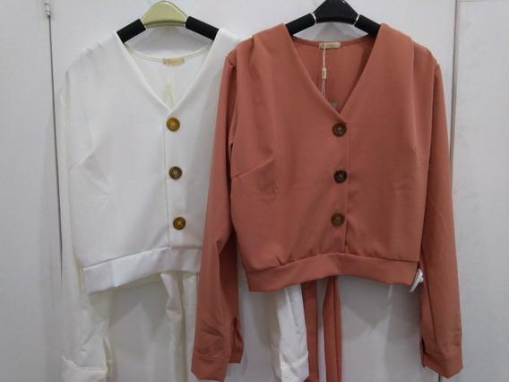 Camisa Feminina Manga Longa Botão Sem Gola Soltinha Inverno