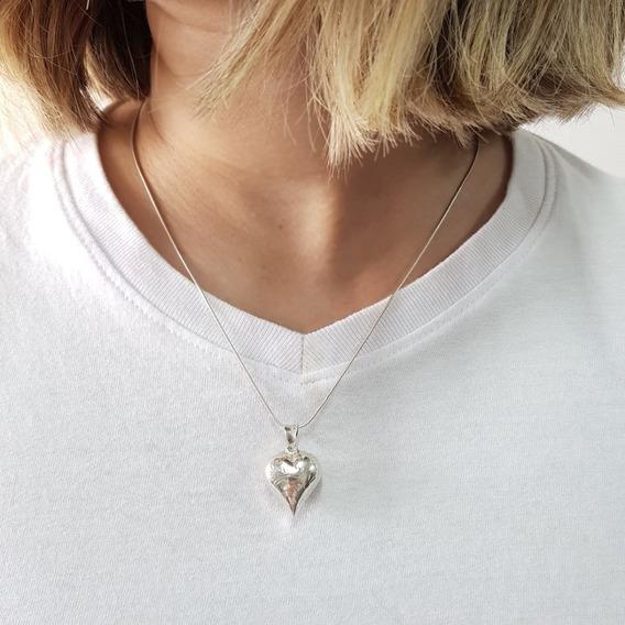 Corrente Prata 925 Feminina Coração Cigano