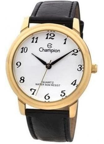 Relógio Champion Feminino Dourado Pulseira Preta Couro Analó
