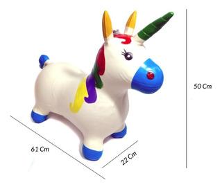 Montable Unicornio Inflable Brinca, Luz Y Sonido Niña Bebé