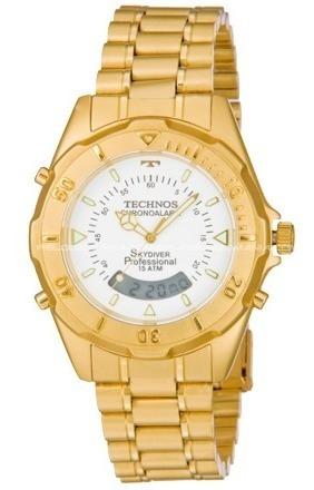 Relógio Masculino Technos Skydiver Dourado T20557/49b Nf