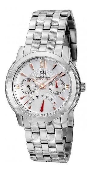 Relógio Feminino Ana Hickmann Ah30264q Prata Multifunção