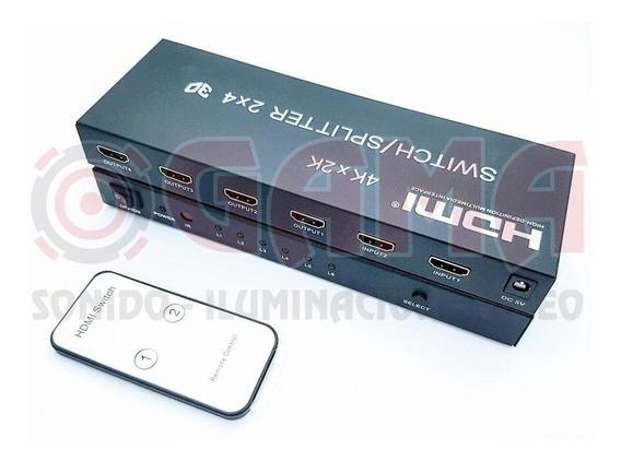 Splitter/switch Hdmi 2x4 Con Audio 4kx2k 3d Cp05-02-003 Cuaz