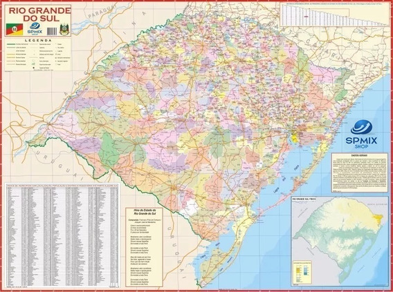 Mapa Estado Do Rio Grande Do Sul - 120cm X 90cm Gigante