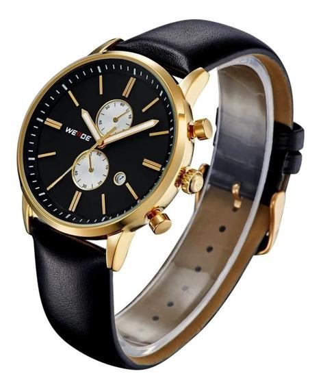 Relógio Masculino Luxo Couro Original Casual Dourado E Preto