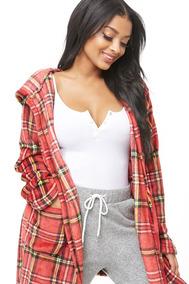 Bata Estampado De Cuadros Franela Forever 21 Pijama Felpa