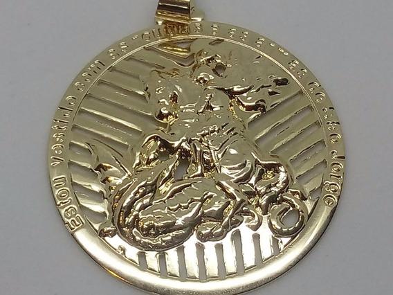 Medalhão De São Jorge Semijóia Com Corrente Masculina 5x1