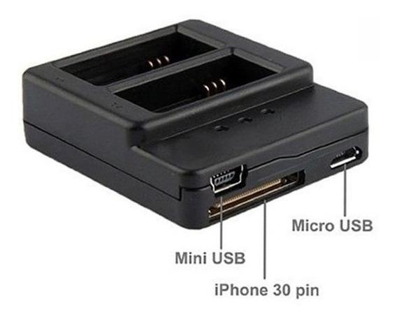 Carregador Gopro Hero3 - Duplo Mini E Micro Usb
