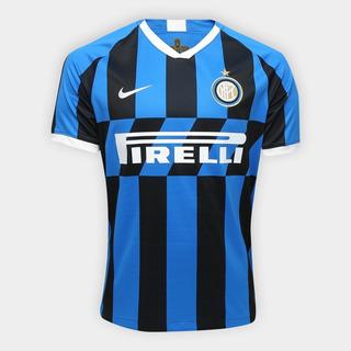 Camisa Inter De Milão Casa 19/20 S/nº Torcedor Nike Masculina - Azul E Preto