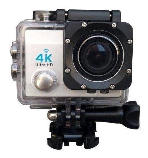 Camera Go Pro Action 4k Com Suporte De Capacete Prata
