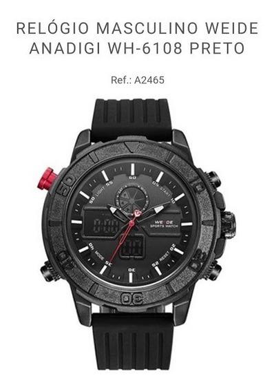 Relógio Masculino Weide Wh6108 Preto