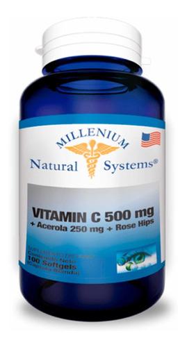 Vitamina C 500mg + Acerola X100 Softgels Natural Systems
