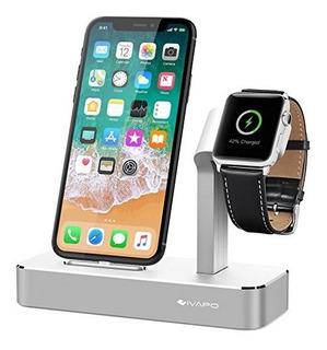 Soporte Cargador Ivapo Aluminio P/reloj Apple Y iPhone Plata