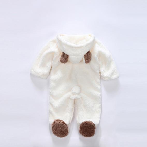 Kit Macacão Pelúcia Bebê Com Orelhinha Urso Infantil 2 Und