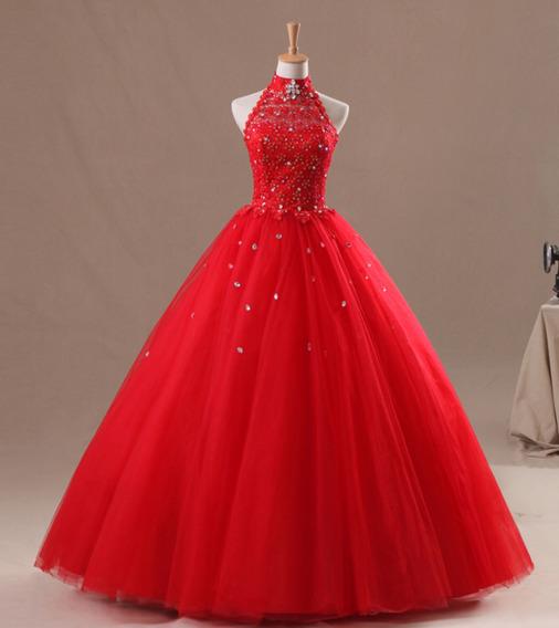 Vestido De 15 Xv Años Rojo Dulces 16 Pedreria Escote Halter