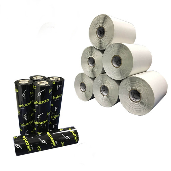 Kit 10 Rolos Etiqueta 10x10 Cm | 100x100mm + 5 Ribbons Cera