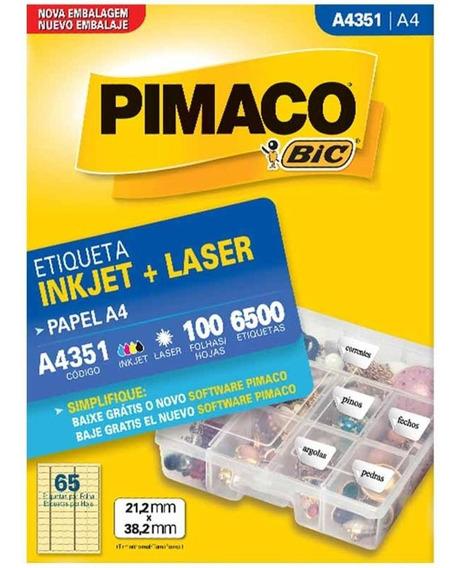 Etiqueta A4351 21x38mm 5col 6500un / 100fl / Pimaco