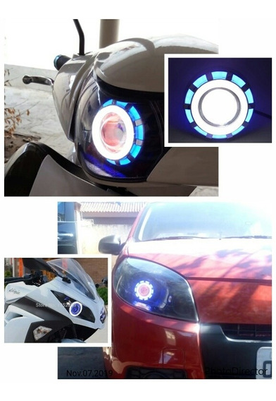 Farol Projetor Retrofit Led Duplo 2 Angel Eyes Carros Motos