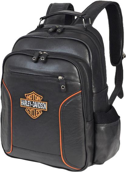 Mochila De Couro Legitimo Logo Moto Bordado Harley Davidson