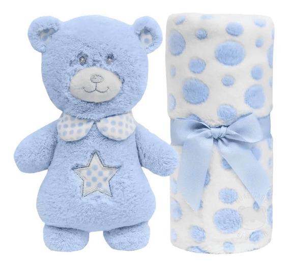 Kit Manta E Pelúcia Gift Ursinho Azul Buba