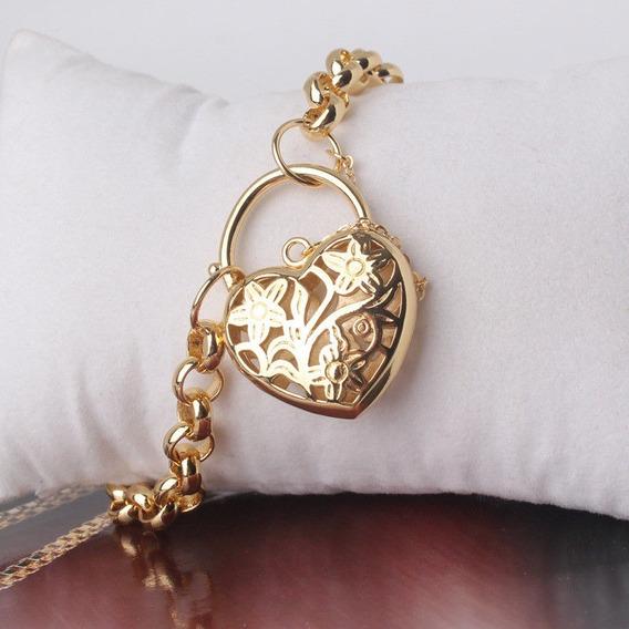 Promoção Pulseira 18k Ouro Goldfile Elos Coração Cadeado 666