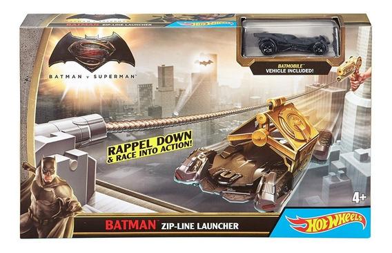 Hot Wheels Batman Vs Superman Pistola Tirolina + Carrito