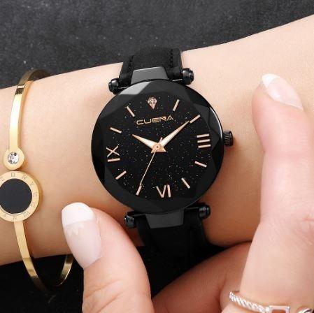 Relógio Cuena Feminino Preto Luxo À Prova D
