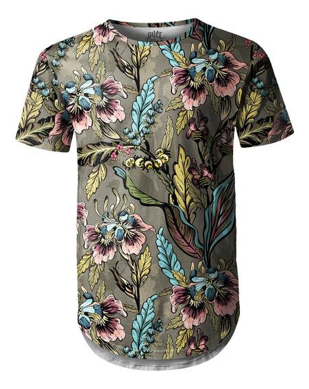Camiseta Masculina Longline Swag Flores E Folhas