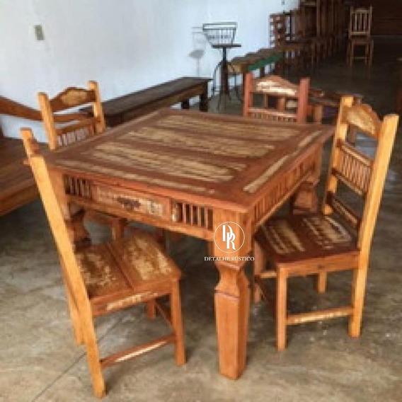 Conjunto De Mesa Com 4 Cadeiras Rústica Retangular