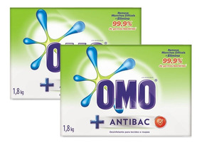 Kit Sabao Em Pó Omo Antibacteriano 1.8kg 40% Na 2un