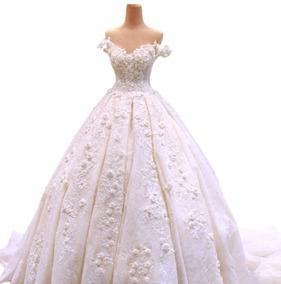 Vestido De Novia Nuevo 2018 C/cola Blanc(directo China)#7337
