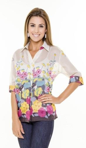 Camisa Feminina Chiffon Transparência Levinha Para Primavera