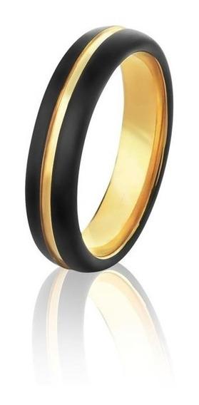 Par Alianças Tungstênio Ip Black (preto) E Ip Gold(ouro 18k)