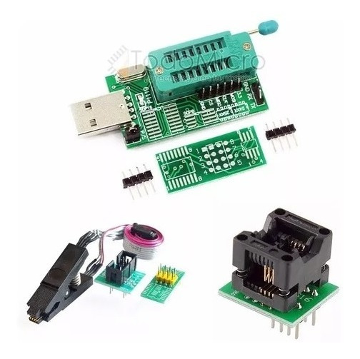 Programador Usb Ch341a + Adapt. Soic8 150mil + Pinza + Cable