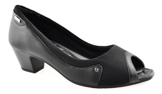 Peep Toe Comfortflex Salto Baixo C Proteção Joanetes 1864303