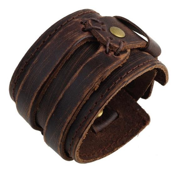 Bracelete Couro Masculino Casual Rock Original Frete Gratis
