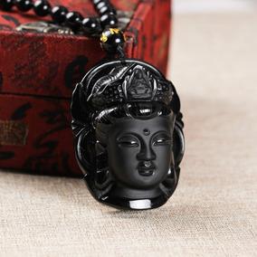Colar Obsidiana Buda Kuan Yin Bodisatva
