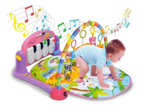 Ginásio Com Tapete De Atividades Bebê Som E Luz - Piano Rosa