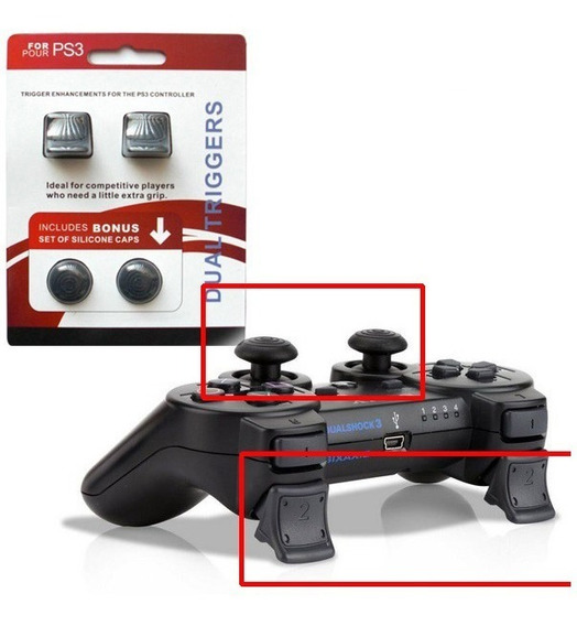 Dual Triggers C/ Borracha P/ Analogico Play 3 Ps3 Sixaxis
