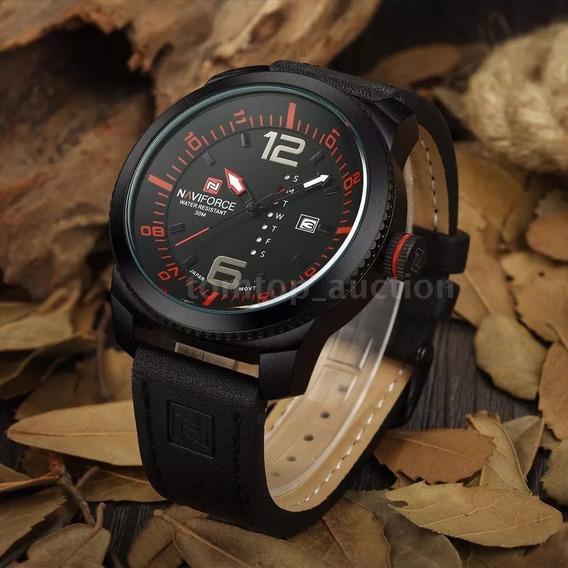 Relógio Masculino Naviforce Militar ( Black- Vermelho )