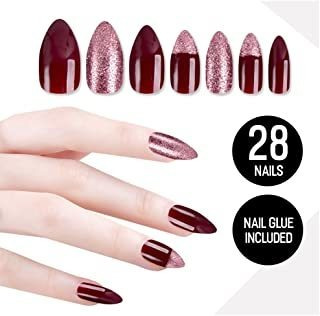 Prime Amazon Day Tip Beauty Plum Maroon Fake Nail Kit, Maroo