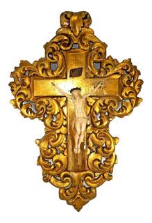 Antigua Talla Cristo Francés En Cruz Florentina Hoja De Oro