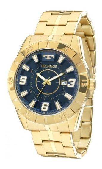 Relógio Masculino Technos Dourado Com Azul 2115kyz4a
