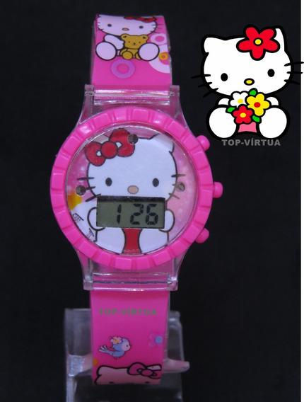 Relógio Infantil Hello Kitty Rosa C/ Som Luzes Original C328