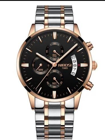 Relógio Nibosi Prata Masculino Original Funcional Anti Risco
