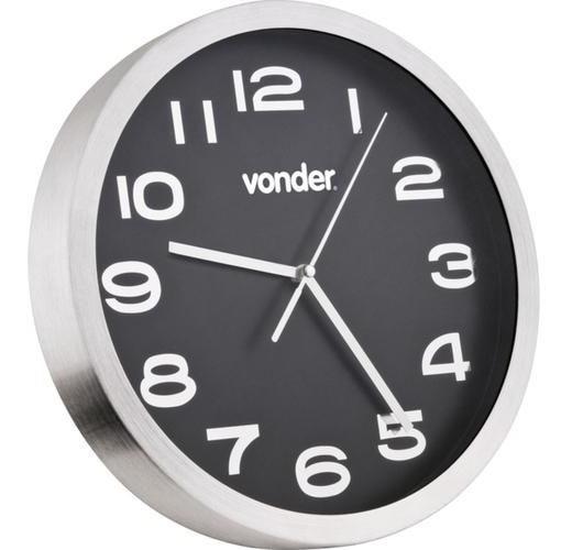Relógio De Parede Prata Com Fundo Preto 360mm - Vonder