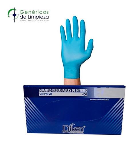 Imagen 1 de 1 de Guante De Nitrilo Azul Marca Diken Talla Grande Caja Con 100