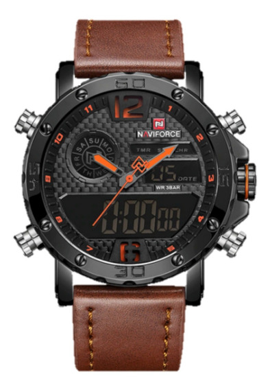 Relógio Masculino Naviforce 9134 Militar Pulseira Couro